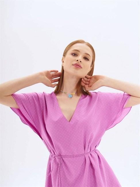 Платье средней длины с поясом - фото 82965