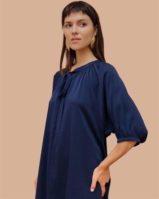 Платье шелковое с завязками - фото 83904