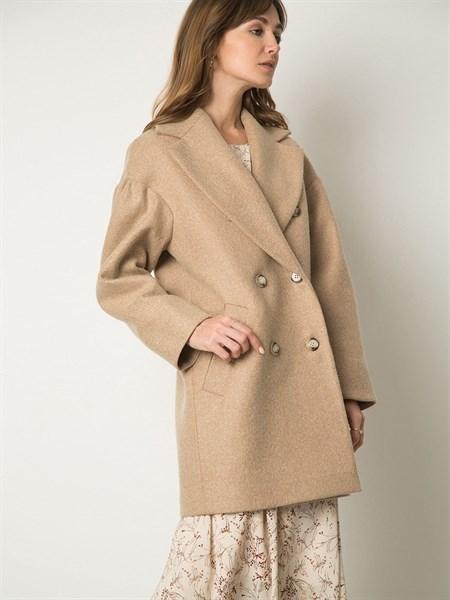 Пальто шерстяное с объемными рукавами